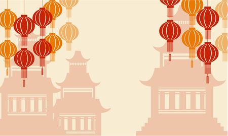 pavilion: Background of pavilion and lanterns vector illustration Illustration