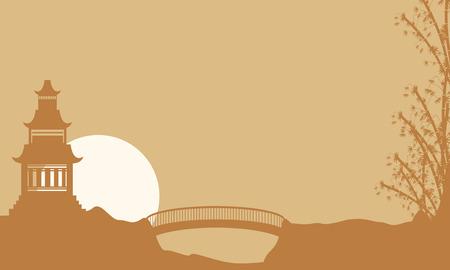 pavilion: Beauty landscape pavilion with bridge silhouette vector art