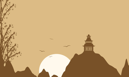 brown backgrounds: Silhouette of pavilion on brown backgrounds vector art Illustration