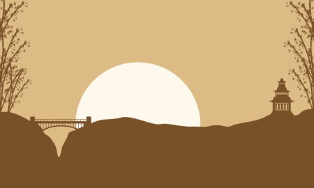 pavilion: Collection scenery pavilion and bridge of silhouettes illustration