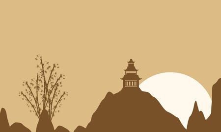 pavilion: On brown background pavilion landscape vector illustration