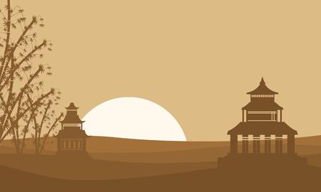 pavilion: Silhouette of two pavilion landscape vector illustration