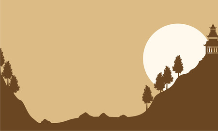 Silhouette of pavilion with moon landscape vector art