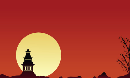 mountain sunset: Silhouette of pavilion scenery collection vector illustration