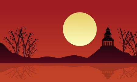 pavilion: Beautiful landscape pavilion with reflection silhouettes vector