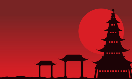 Chinese theme landscape of silhouettes vector art