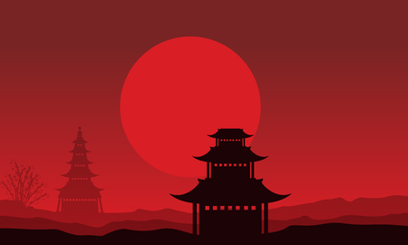 pavilion: Silhouette of pavilion scenery on red backgrounds illustration