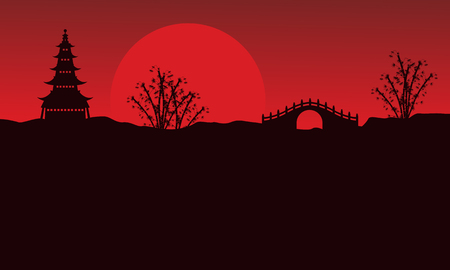 rooster at dawn: Landscape of pavilion and bridge silhouettes vector art
