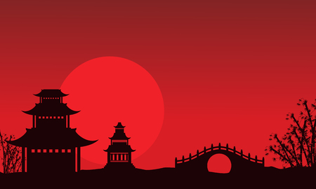 Silhouette of pavilion and bridge Chinese theme vector art