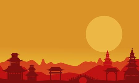 pavilion: At sunset pavilion landscape of silhouettes vector art
