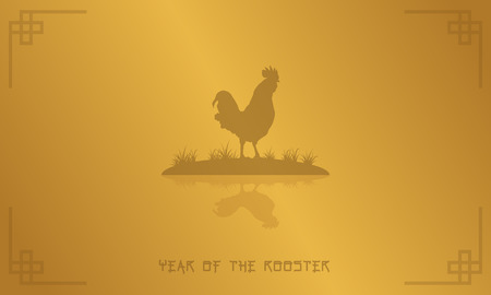 Silhouette of rooster on gold backgrounds vector art Illustration