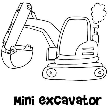 Mini excavator of vector art
