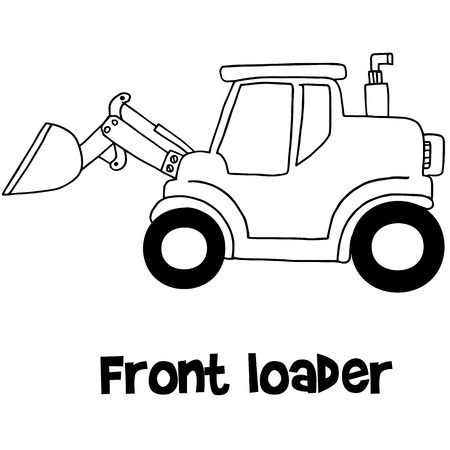 front of: Front loader of vector art