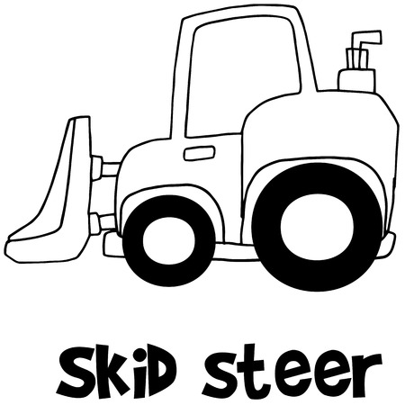 skid: Hand draw of skid steer