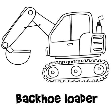 loader: Backhoe loader with hand draw