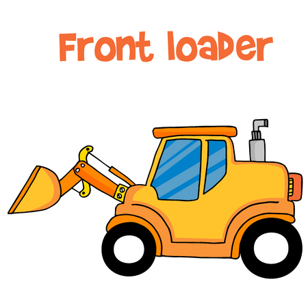 front of: Yellow front loader of vector Illustration