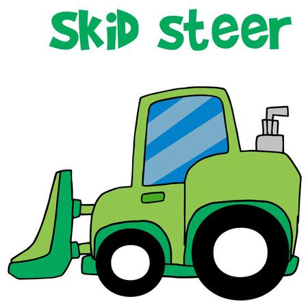skid: Green skid steer cartoon vector Illustration