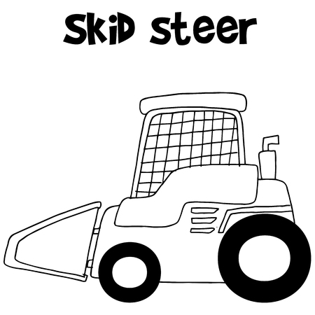 skid: Collection skid steer hand draw