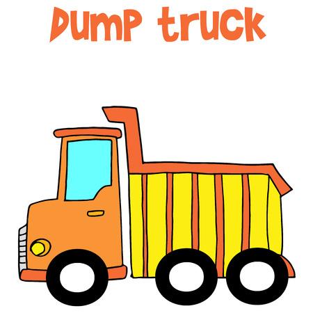 dump truck: Yellow dump truck cartoon vector Illustration