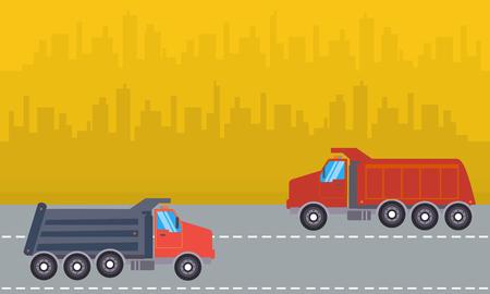 dump truck: Landscape of two dump truck vector illustration