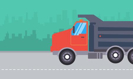 dump truck: Illustration of dump truck landscape