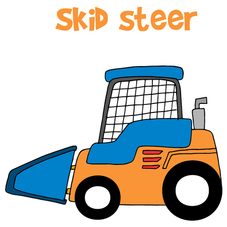 skid: Skid steer cartoon vector art collection stock