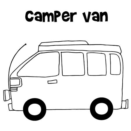 Camper van of vector illustration Stock Vector - 71440048