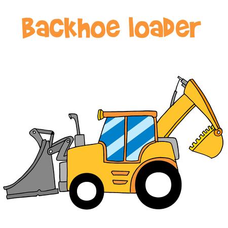 loader: Yellow backhoe loader vector art
