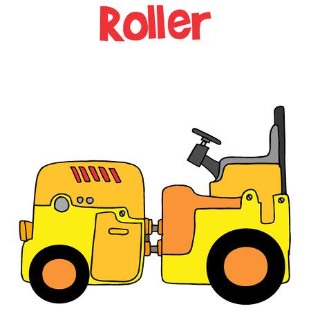 carretilla de mano: Rodillo de la técnica de dibujos animados de transporte Vectores