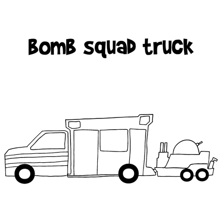 disarm: Bomb squad truck vector illustration