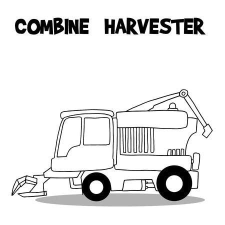 harvester: Combine harvester vector art illustration Illustration