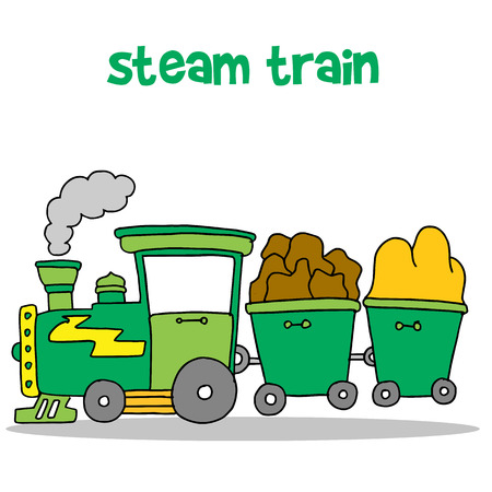 Steam train cartoon design vector Illustration
