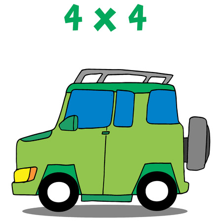 Transportation 4x4 cartoon vector art Illustration