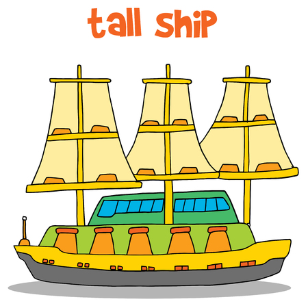 Vector art of tall ship Illustration