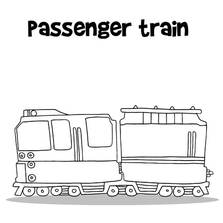 high speed train: Passenger train with hand draw Illustration