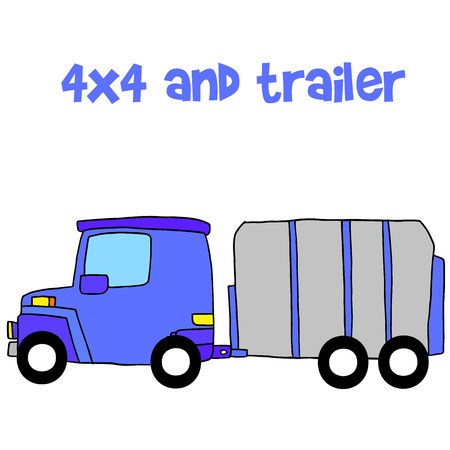 trailer vector illustration with hand draw