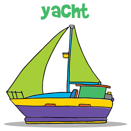 Yacht carton vector art illustartion Illustration