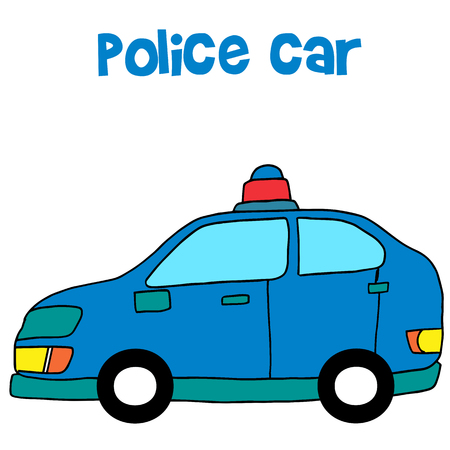 Collection of police car vector art Illustration