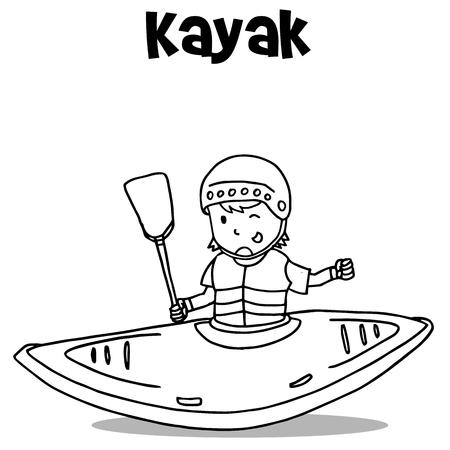 Vetcor art of kayak hand draw