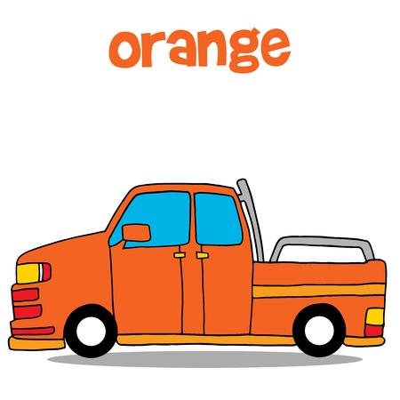Transportation of orange car vector art
