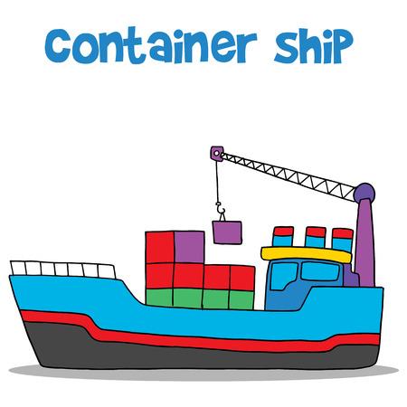 Cartoon of container ship vector