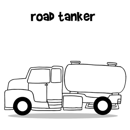 tanker: Road tanker with hand draw vector illustration