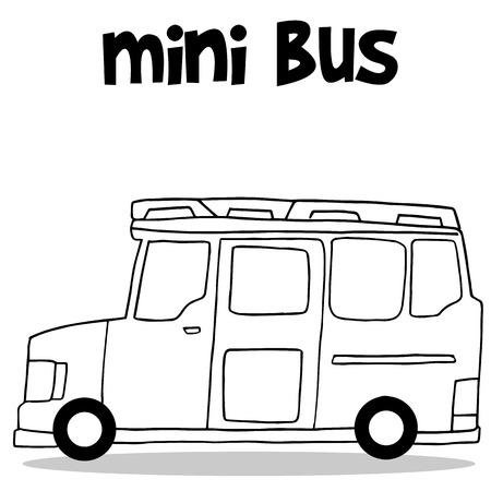 mini loader: Transportation of mini bus hand draw collection Illustration