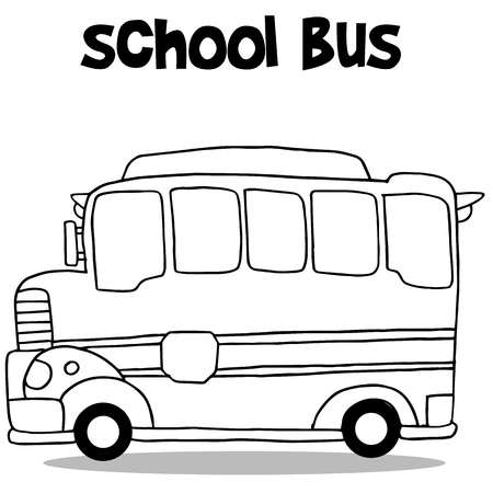 mini loader: School bus collection transportation vector art illustration