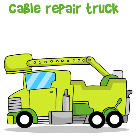 Green cable repair truck collection vector illustration