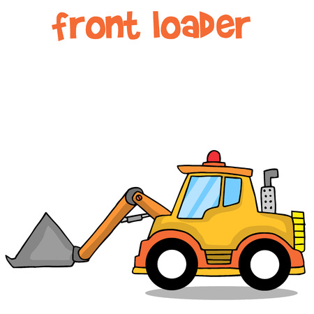 cargador frontal: Front loader collection stock transportation vector art