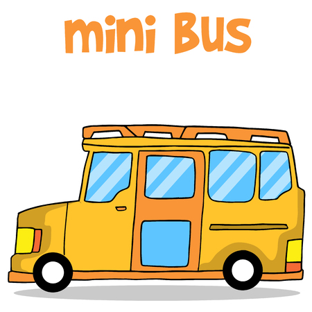excavation: Transportation of mini bus collection vector illustration