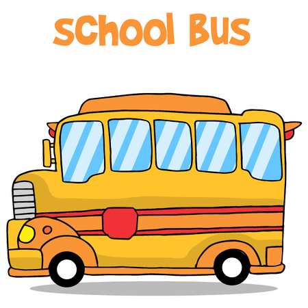 mini loader: Transportation of school bus collection vector art