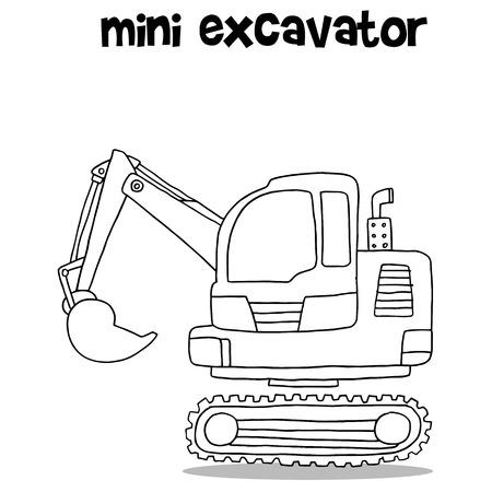 Hand draw of mini excavator Vetores