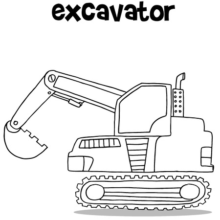 mini loader: Collection of excavator transportation vector art illustration